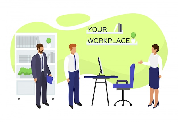 Job vacancy workplace hire,  illustration. employment at office,  hiring and recruitment concept. business employee