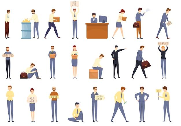 失業のアイコンセット、漫画のスタイル