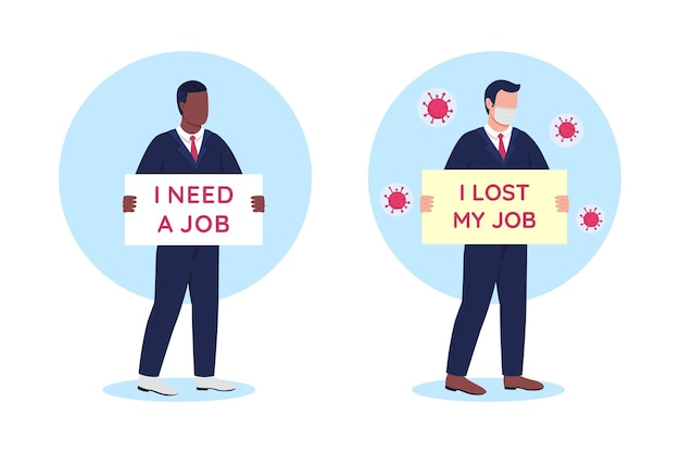 Jobless people with cardboard signs flat concept illustration set