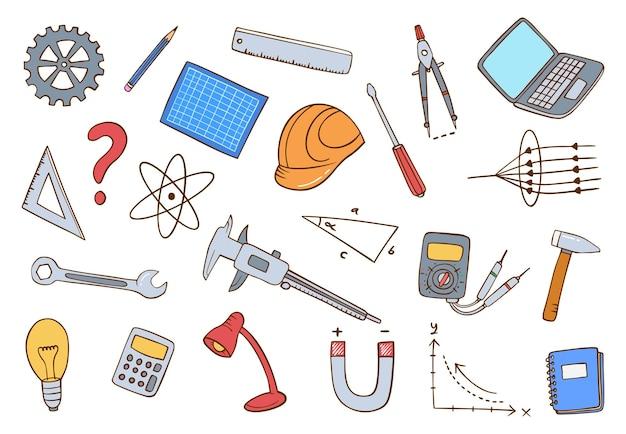 작업 또는 직업 엔지니어링 개념 낙서 손으로 그린 플랫 개요 스타일 세트 컬렉션