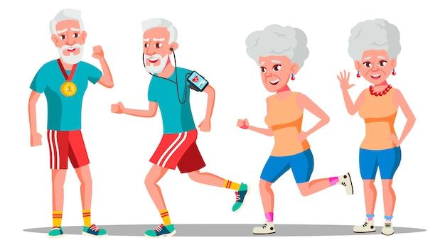 Jogger старые люди. пара бегунов. активная тренировка здоровья