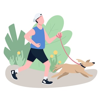 Jogger with dog flat color vector faceless character.