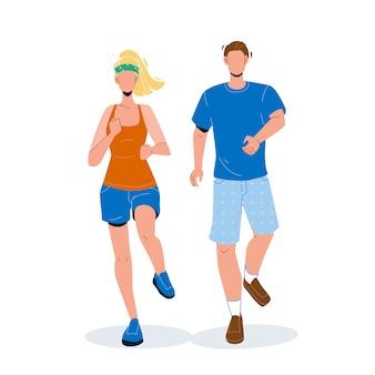 Бегуны мужчина и женщина бегут вместе