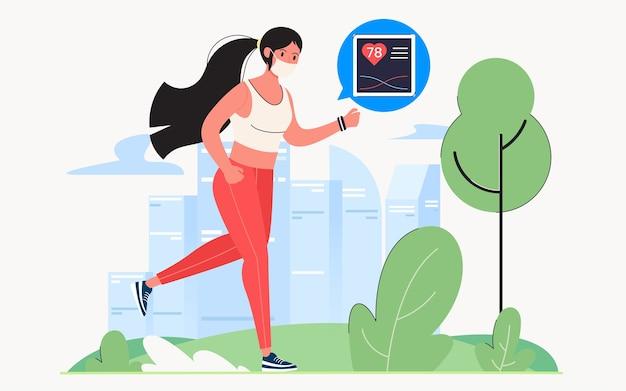 격리 중 건강을 유지하기 위해 공원에서 조깅, 웹 사이트 페이지 또는 배경에 대한 현대적인 평면 일러스트 디자인 컨셉