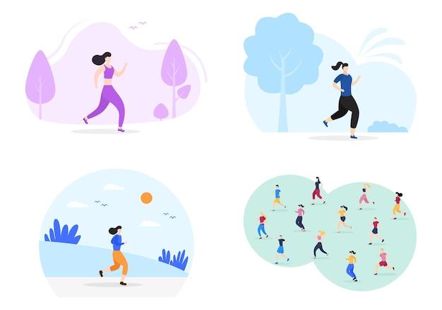 ジョギングやランニングスポーツの背景イラストアクティブな体、健康的なライフスタイル、野外活動のための男性と女性
