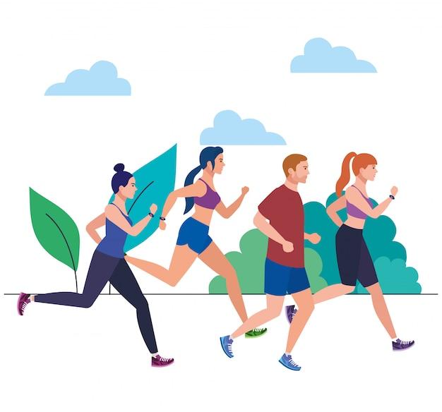 風景の中の人々、公園でレースをしている人々、屋外イラストデザインでジョギングしているスポーツウェアの人々
