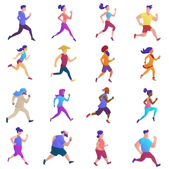 Jogging people. runners group in motion.