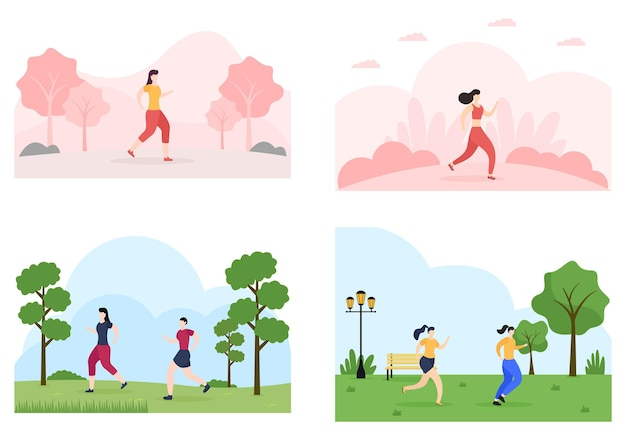 Jogging or running sports background illustration men and women for active body, healthy lifestyle, outdoor activities