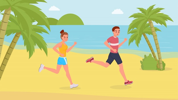 Jogging sport people on the beach