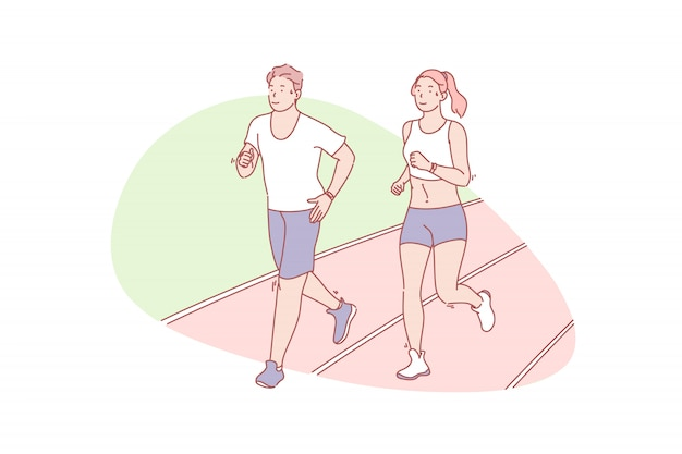Jogging, wellness, sport, health, illustration