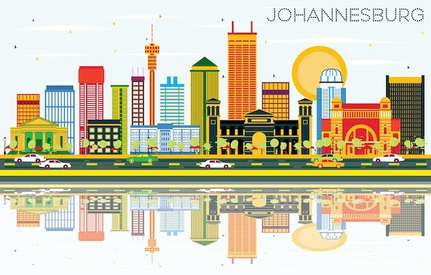 色の建物、青い空と反射のヨハネスブルグのスカイライン。ベクトルイラスト。ヨハネスブルグの近代的な建物とビジネス旅行と観光のコンセプト。プレゼンテーションとバナーの画像。