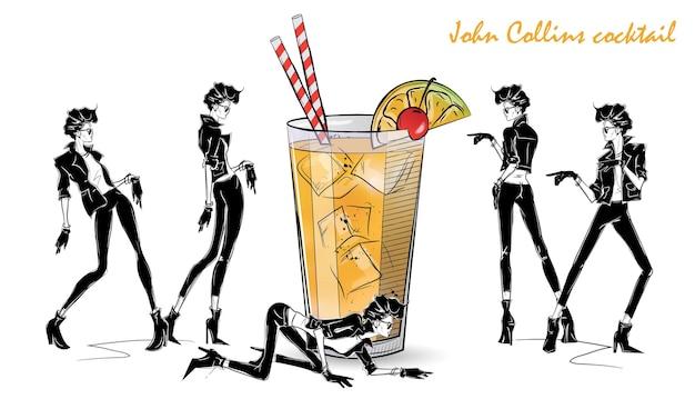 ジョンコリンズカクテル。カクテルとスタイルスケッチのファッションの女の子。ベクトルイラスト