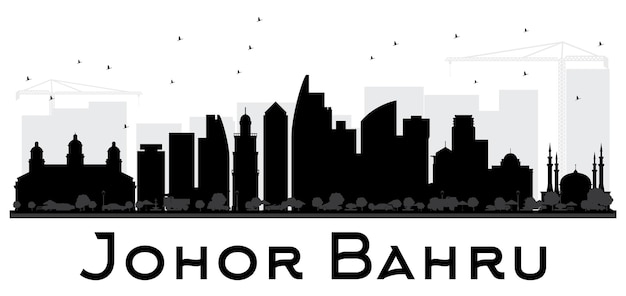 Джохор-бару малайзия город горизонт черно-белый силуэт векторные иллюстрации