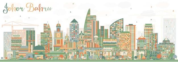 Горизонт джохор-бару малайзии с цветными зданиями. векторные иллюстрации. деловые поездки и туризм иллюстрация с современной архитектурой. изображение для презентационного баннера и веб-сайта.
