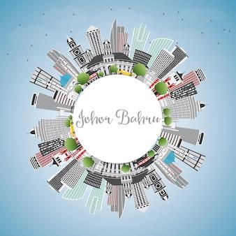 Горизонт джохор-бару малайзии с серыми зданиями, голубым небом и копией пространства. векторные иллюстрации. деловые поездки и концепция туризма с современной архитектурой. городской пейзаж джохор-бару с достопримечательностями.