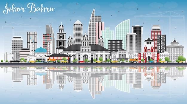 Горизонт малайзии джохор-бару с серыми зданиями, голубым небом и отражениями векторные иллюстрации