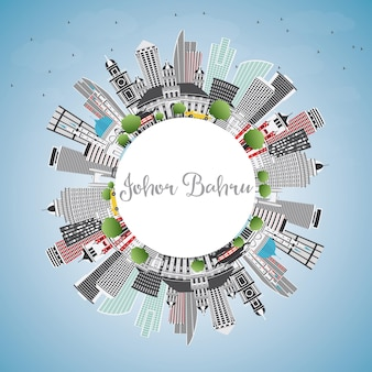Johor bahru malaysia skyline with gray buildings, blue sky and copy space. vector illustration. business travel and tourism concept with modern architecture. johor bahru cityscape with landmarks.