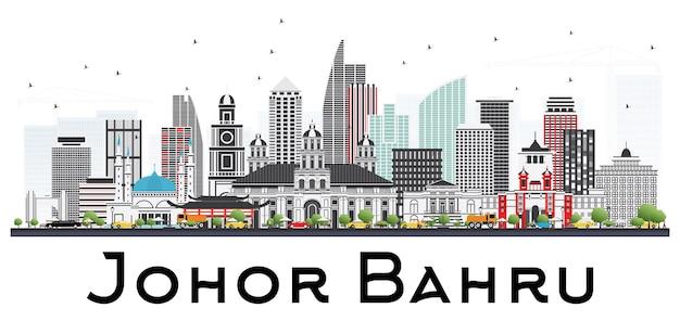 Горизонт малайзии джохор-бару с серыми зданиями, изолированные на белом фоне векторные иллюстрации