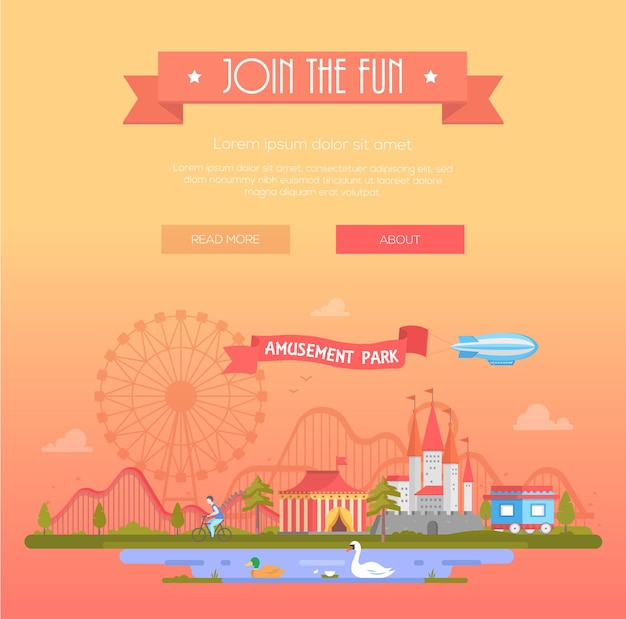 Join the fun - modern vector illustration with place for text. title on orange ribbon. cityscape with attractions, circus pavilion, castle, roller coaster, pond. entertainment, amusement park concept
