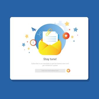 購読者または顧客のランディングページのニュースレターの電子メール通知に参加する