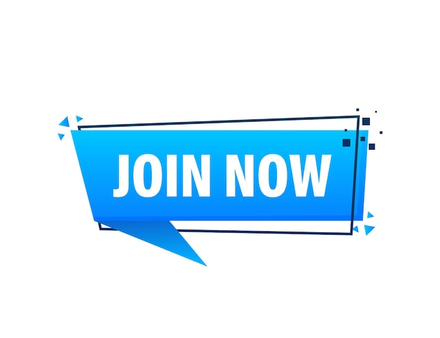 Join now blue label on white