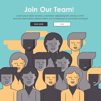 Присоединяйтесь к нашему сообществу. толпа объединенных людей Premium векторы