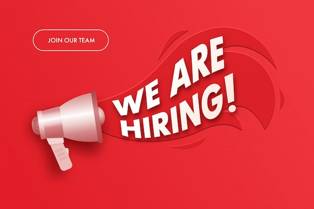 Join our team banner. we are hiring advertising sign with megaphone.