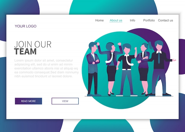 Join our team landing page concept for website