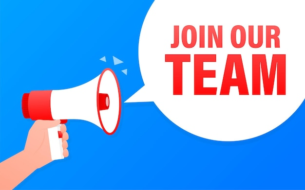 Join our team megaphone blue banner in 3d style on white background.   illustration.
