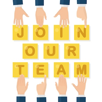 Join our team. recruitment, hiring for interview. search human resources