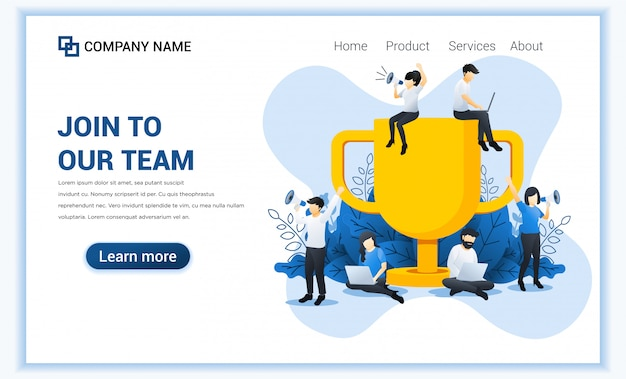 Join our team web banner concept. people near the big trophy are looking for partners and new members.
