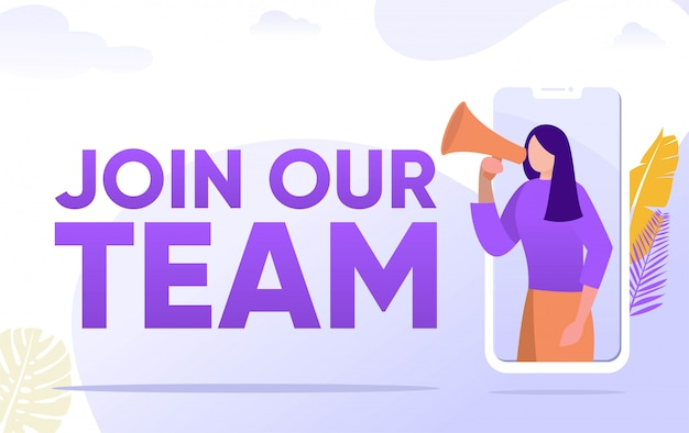 Join our team word  illustration concept, people shouting on megaphone   can use for, landing page, template, ui, web, mobile app, poster, banner, flyer, background