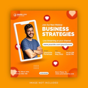 Присоединяйтесь к нашему вебинару и развивайте бизнес-стратегии. баннер в instagram. сообщение в социальных сетях.