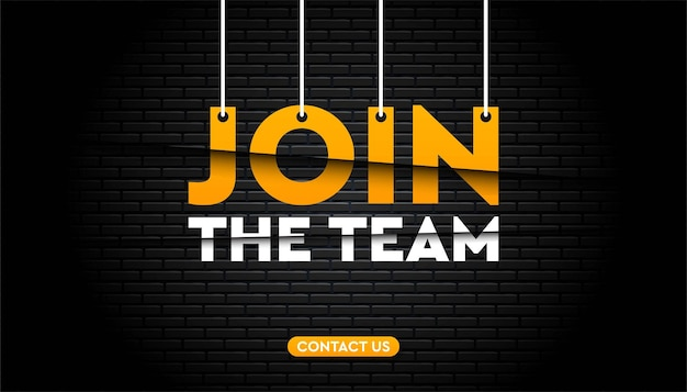 Join the team with brick wall background template.