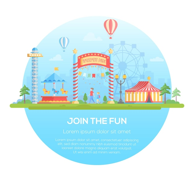 Присоединяйтесь к веселью - современная плоская векторная иллюстрация стиля дизайна в круглой рамке на городском фоне с местом для текста. городской пейзаж с аттракционами, цирк, силуэт большого колеса. концепция развлечения