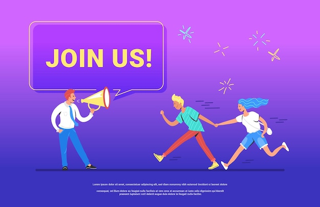 Join us concept vector illustration of happy manager shouting on megaphone to invite new customers or users for his project. young man running forward with his girlfriend to join a project or team