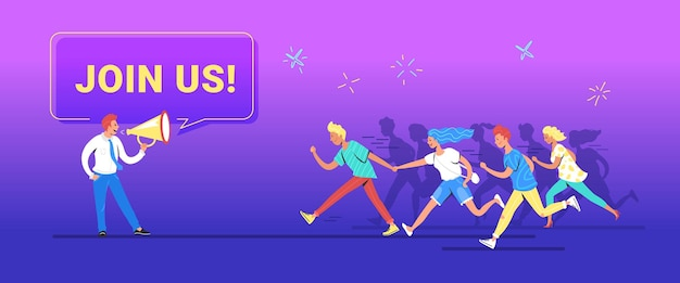 Join us concept vector illustration of happy manager shouting on megaphone to invite new customers or users for his project. young various men and women making haste and running forward to join a team