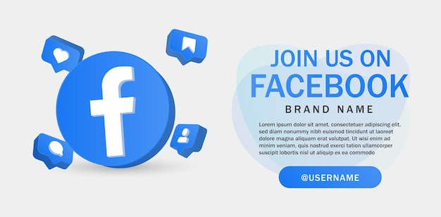 Join us on facebook for social media icons banner in 3d round circle notification icons