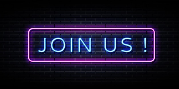Join us now neon sign on black wall