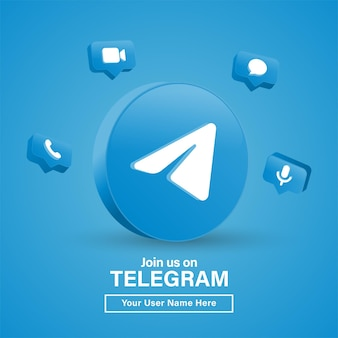 Join us on telegram 3d logo in modern black circle for social media icons or contact us banner