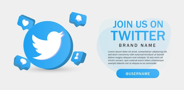 Join us on twitte for social media icons banner in 3d round circle notification icons