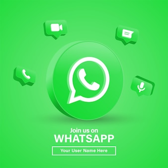 Join us on whatsapp with 3d logo in modern circle for social media icons logos or follow us banner