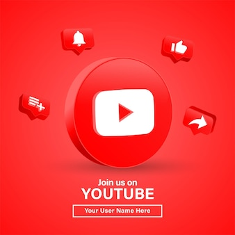 Join us on youtube with 3d logo in modern circle for social media icons logos or follow us banner