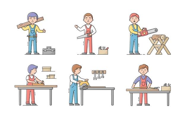Столяр профессии и концепция день труда. набор плотников в форме, с рабочими инструментами на их рабочих местах. команда профессиональных строительных рабочих.