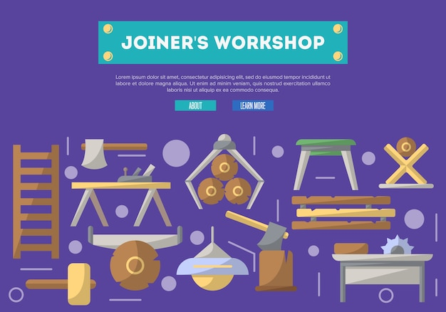 Joiners workshop  in flat style