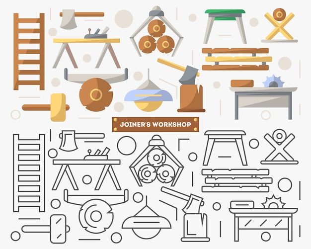 Joinery workshop furniture set in flat style