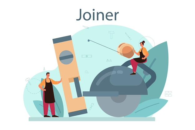 Jointer or carpenter concept. builder wearing helmet and overalls with working with wood. joinery and carpenry workshop. isolated vector illustration