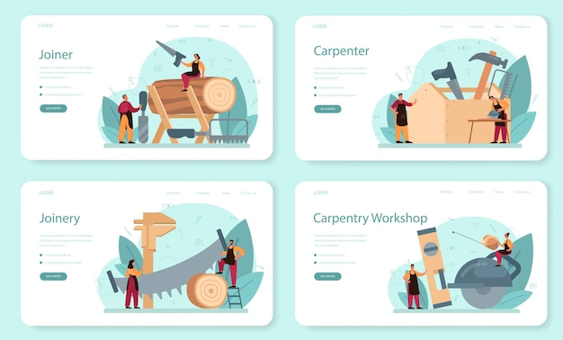 Jointer or carpenter web banner or landing page set.