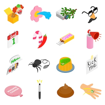Joke icons set in isometric 3d style on white