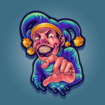 Джокер талисман дизайн иллюстрация